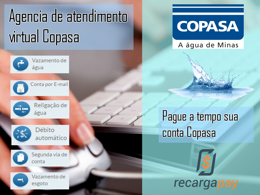 Serviços da agencia de atendimento virtual de Copasa