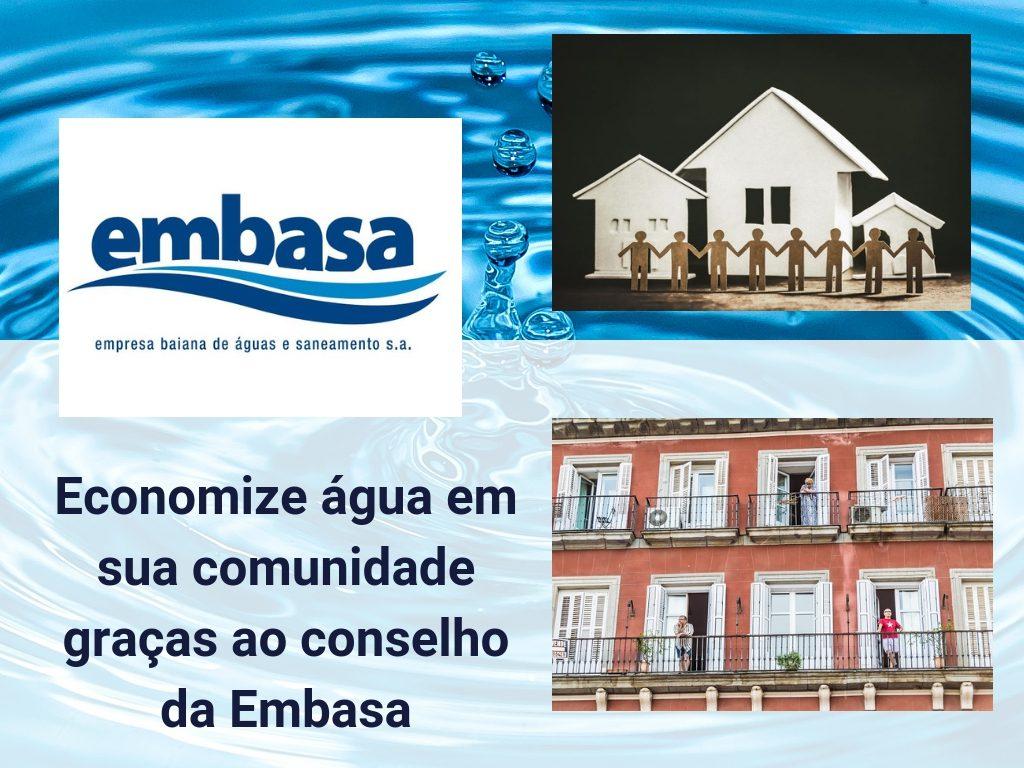 Economize água em sua comunidade graças ao conselho da Embasa
