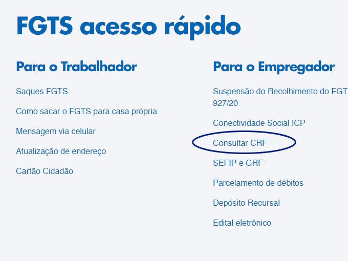 tirar o Certificado de Regularidade do FGTS CRF