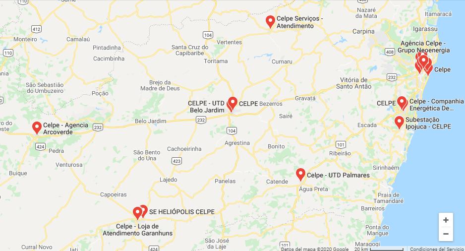 Escritorios da Celpe em Pernambuco