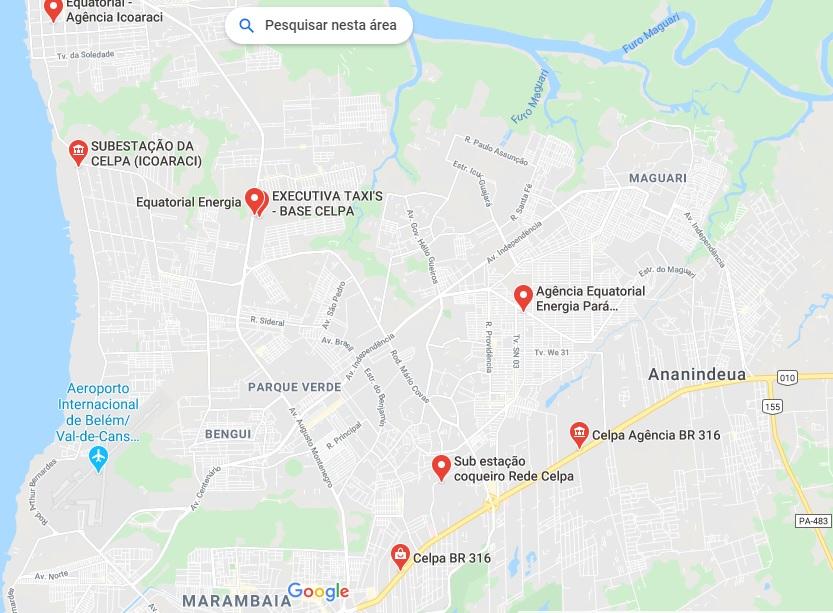 Agências e escritórios de atendimento Celpa em Pará