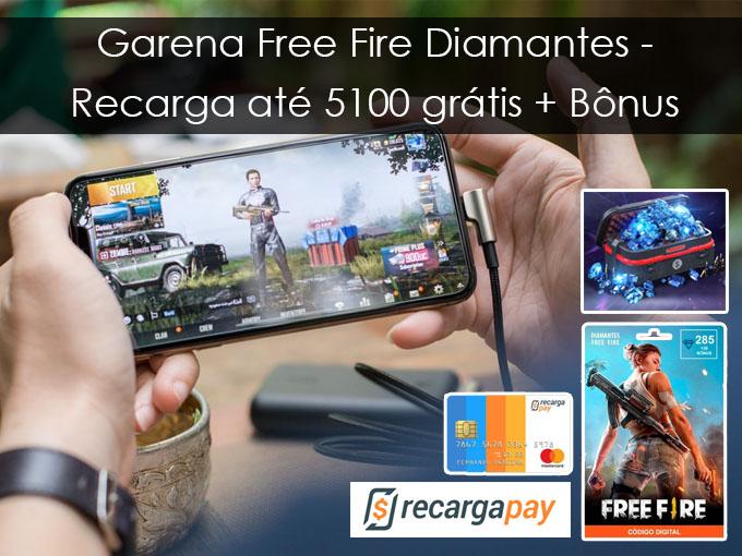 Garena Free Fire Diamantes - Recarga até 5100 grátis + Bônus