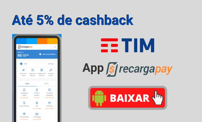 Até 5% de cashback em recarga com RecargaPay