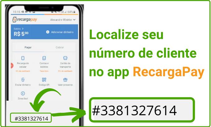 Localize o número de cliente no RecargaPay